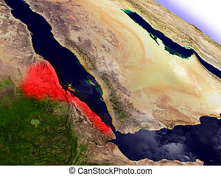 Eritrea from space highlighted in red - Eritrea highlighted...