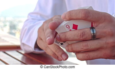 Closeup Conjurer Hands Shows Ace of Hearts Card Trick -...