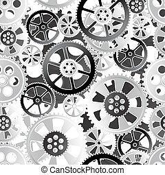 gears seamless - grey gears on a white background, seamless...