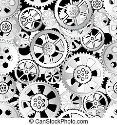 gears seamless - grey gears on a black background, seamless...
