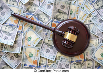 gavel - wood gavel on cash background