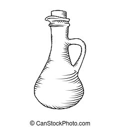 Glass carafe illustration vector isolated on white