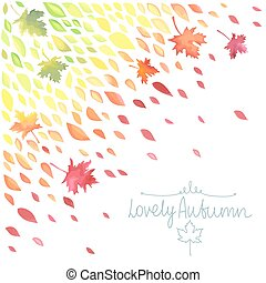 Autumn. A rain of colored leaves. Watercolor imitation in...