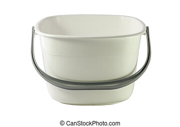 White plastic bucket for products isolated on white background. The file includes a clipping path so it is easy to work.