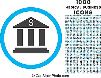Bank Building Rounded Symbol With 1000 Icons - Bank Building...