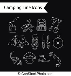 Camping holiday vector line icons.