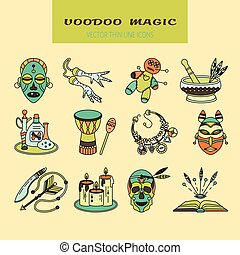 Voodoo African and American magic vector logo. Color line...
