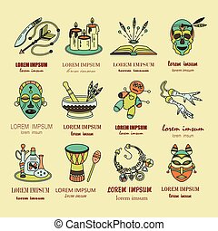Voodoo African and American magic vector logo Line icons of...