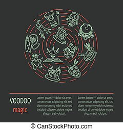 Modern card with voodoo magic vector line icons. Voodoo...
