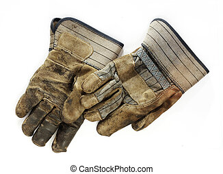 Old Dirty Work Gloves - A pair of old, dirty canvas and...