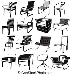 reception chair icons vector style