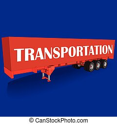 Red tow Container on blue board, Vector style