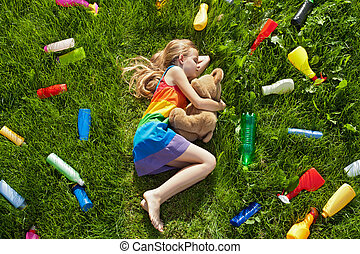 Threat to our colorful dreams - plastic litter surrounding...