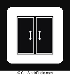 Double door icon, simple style - Double door icon in simple...