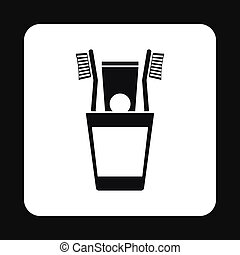 Toothbrush in a cup icon, simple style