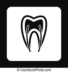 Human tooth cross section icon, simple style - Human tooth...