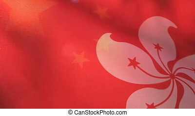 Hong Kong and China flags - backlit flags of Hong Kong and...