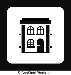 Two storey residential house icon, simple style