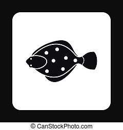 Flounder icon, simple style - Flounder icon in simple style...