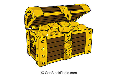 chest - Chest full of gold coins 3d illustration