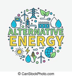Alternative Energy round illustration Vector renewable...