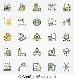 Colorful pollution icons. Vector collection of dark green...