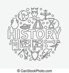 History linear illustration. Vector history school subject...