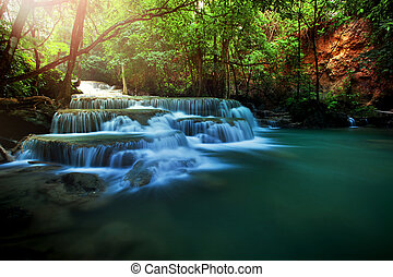 beautiful huay meakamin water falls in deep forest...
