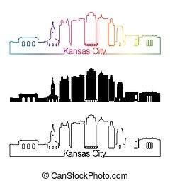Kansas City V2 skyline linear style with rainbow - Kansas...