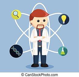 scientist with scientific icon