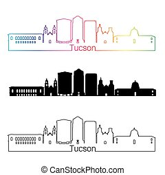 Tucson V2 skyline linear style with rainbow - Tucson skyline...