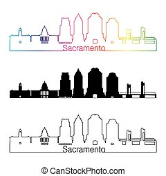 Sacramento V2 skyline linear style with rainbow
