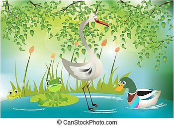 somewhere in the pond, - composition with animals and a pond