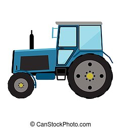 Wheeled tractor - Blue wheeled tractor on a white background