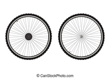 Bicycle wheel on a white background