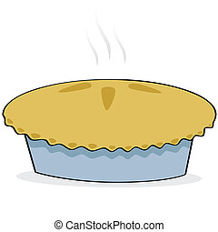 Apple pie - Cartoon illustration of a freshly baked apple...