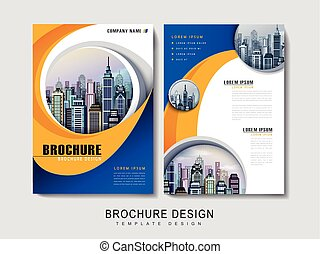 Flyer or Cover Design with urban city landscape and curved...