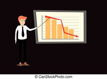 flat cartoon vector illustration of young business man making presentation by point at disappointed sales loss graph bar chart  going down in front of whiteboard. poor economy concept