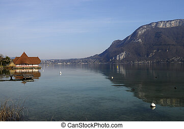 Lake of Annecy in france - Overview of Lake of Annecy and...