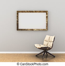 blank picture on the wall in the gallery, chair, armchair...