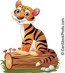 Cartoon tiger sitting on tree log - Vector illustration of...
