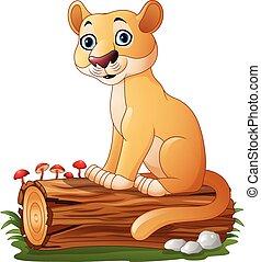 Cartoon feline sitting on tree log - Vector illustration of...