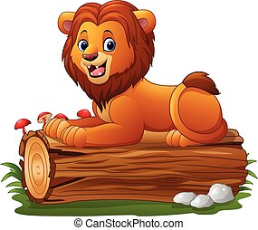 Cartoon lion sitting on a tree log - Vector illustration of...