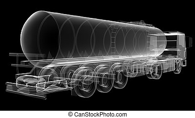 isolated transparent tanker truck