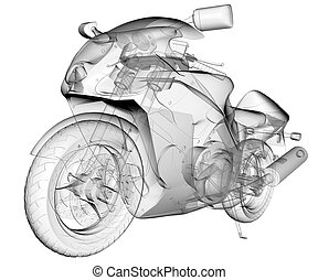 transparent isolated sport moto bike