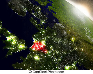 Belgium from space highlighted in red - Belgium highlighted...