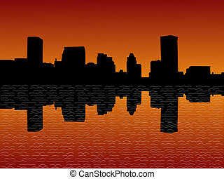Baltimore skyline at sunset illustration