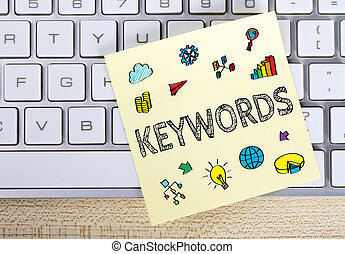 Keywords Business Concept - Keywords business concept on the...