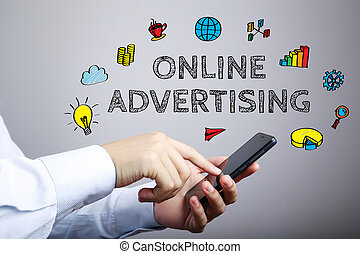 Online Advertising Business Concept - Online Advertising...