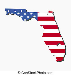 Florida map flag - Map of the State of Florida and American...